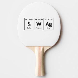Símbolo de la química de la palabra del elemento pala de tenis de mesa