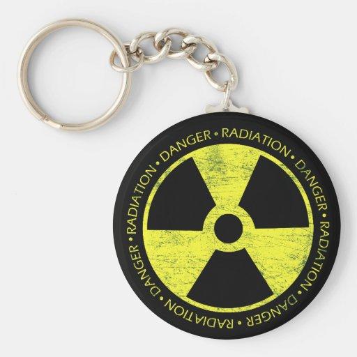 Símbolo de la radiación llavero redondo tipo pin