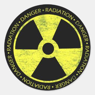 Símbolo de la radiación etiquetas redondas