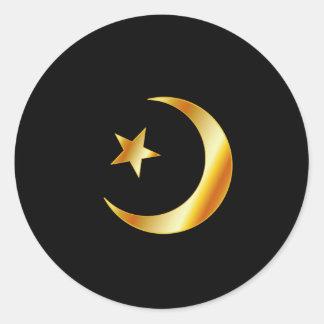 Símbolo de la religión del Islam Pegatina Redonda