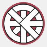 Símbolo de la rueda de Ichthys Pegatina Redonda
