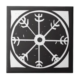 Símbolo de la rueda de Viking Azulejo Cuadrado Pequeño