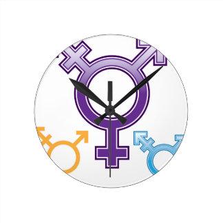 Símbolo de la sexualidad reloj redondo mediano