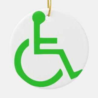 Símbolo de la silla de ruedas adorno redondo de cerámica