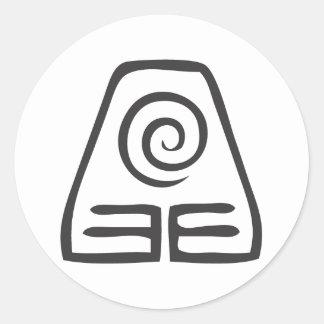 Símbolo de la tierra pegatina redonda