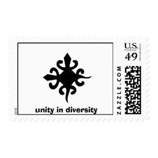 Símbolo de la unidad y de la diversidad, unidad en timbres postales