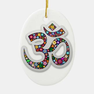 Símbolo de la yoga de Aum Namaste del ohmio de OM Adorno Navideño Ovalado De Cerámica