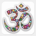 Símbolo de la yoga de Aum Namaste del ohmio de OM Pegatina Cuadrada