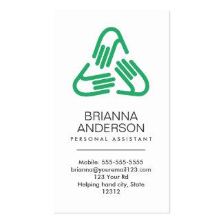 Símbolo de las manos amigas, verde, ayudante perso plantilla de tarjeta de visita