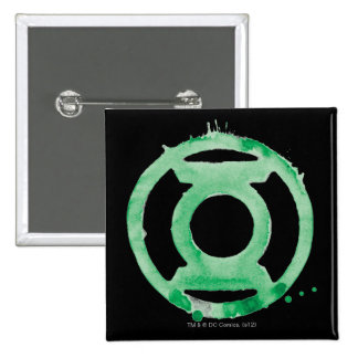 Símbolo de linterna del café - verde pin cuadrada 5 cm