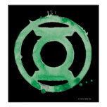 Símbolo de linterna del café - verde póster