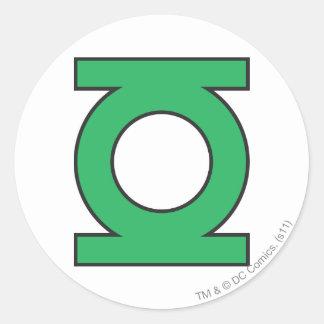 Símbolo de linterna verde pegatina redonda