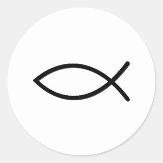 Símbolo de los pescados de Ichthus Etiquetas Redondas
