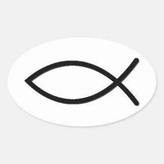 Símbolo de los pescados de Ichthus Colcomanias Oval Personalizadas