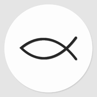 Símbolo de los pescados de Ichthus Pegatina Redonda