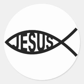 Símbolo de los pescados de Jesús Pegatina Redonda