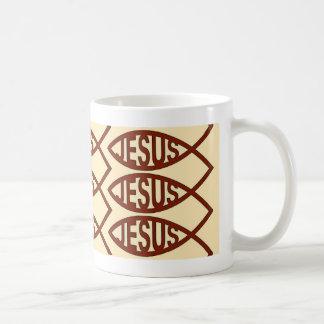 Símbolo de los pescados de Jesús Taza Básica Blanca