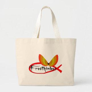 Símbolo de los pescados del Freethinking Bolsa Tela Grande