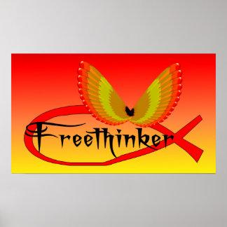 Símbolo de los pescados del Freethinking Póster