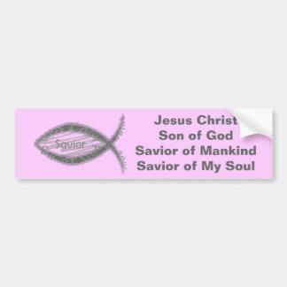 Símbolo de los pescados del salvador de Jesús Pegatina De Parachoque