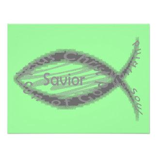 Símbolo de los pescados del salvador de Jesús Invitaciones Personales