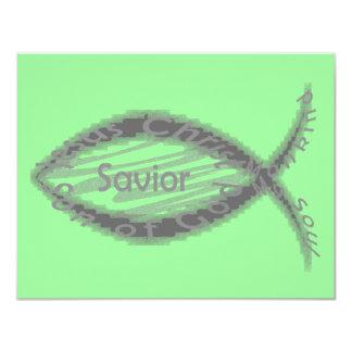 Símbolo de los pescados del salvador de Jesús Invitación 10,8 X 13,9 Cm