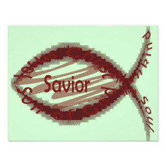 Símbolo de los pescados del salvador de Jesús Comunicado Personalizado