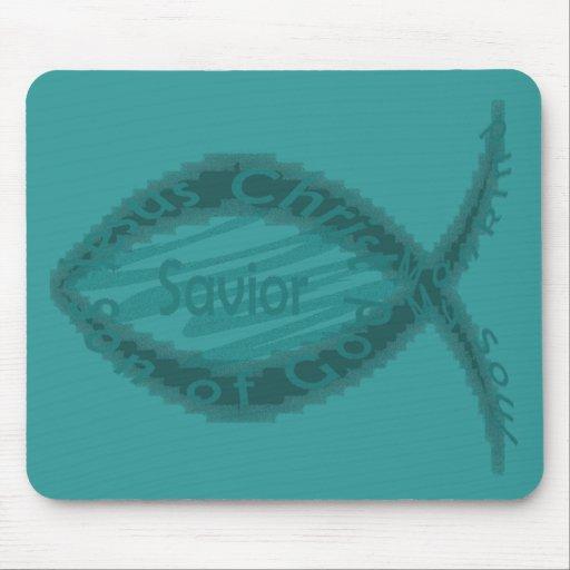 Símbolo de los pescados del salvador de Jesús Mousepad