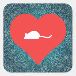 Símbolo de los ratones pegatina cuadrada