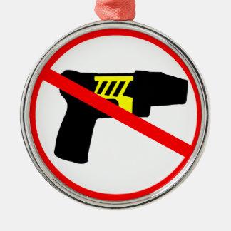 Símbolo de los tazers de la prohibición adorno redondo plateado
