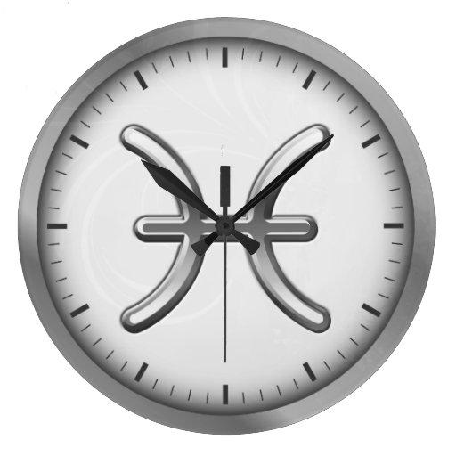 Símbolo de lujo de plata elegante el   del zodiaco reloj redondo grande