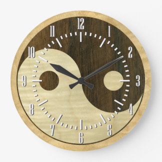 Símbolo de madera de Yin Yang Reloj Redondo Grande