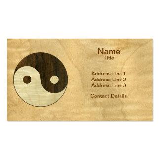 Símbolo de madera de Yin Yang Tarjetas De Visita
