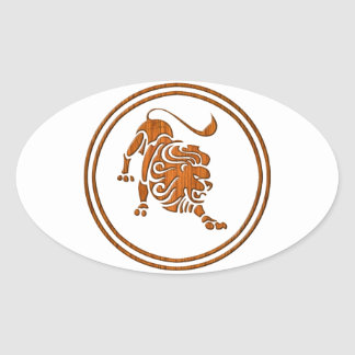 Símbolo de madera tallado del zodiaco de Leo Pegatina Ovalada