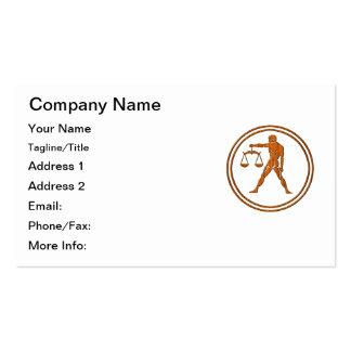 Símbolo de madera tallado del zodiaco del libra plantillas de tarjetas de visita