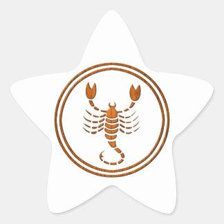 Símbolo de madera tallado del zodiaco del pegatina en forma de estrella