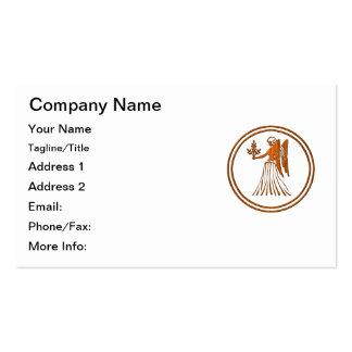 Símbolo de madera tallado del zodiaco del virgo plantillas de tarjetas de visita