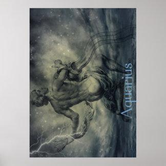 Símbolo de moda del zodiaco del acuario del vintag póster