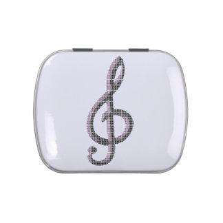Símbolo de música frascos de dulces