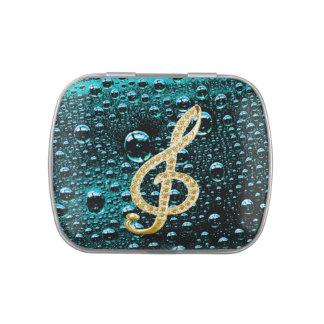Símbolo de música latas de caramelos
