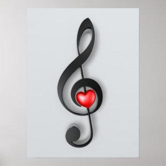 símbolo de música y poster precioso del corazón