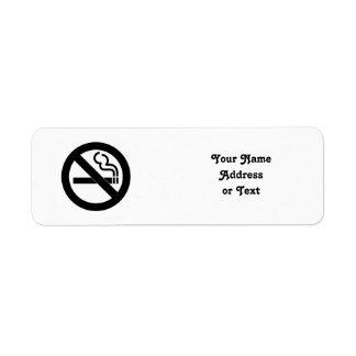 Símbolo de no fumadores etiqueta de remite
