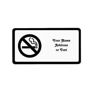 Símbolo de no fumadores etiquetas de dirección