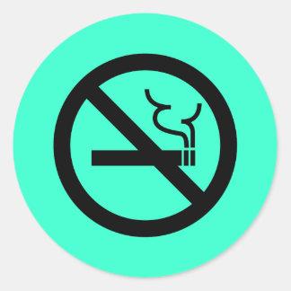 Símbolo de no fumadores pegatina redonda