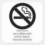 Símbolo de no fumadores pegatina cuadrada