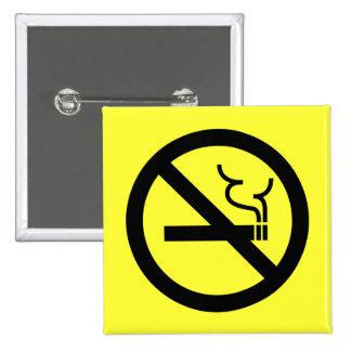 Símbolo de no fumadores pin cuadrado