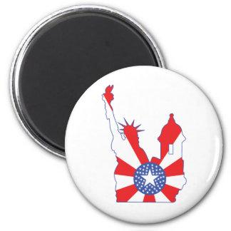símbolo de Nueva York Puerto Rico combinado Imán Redondo 5 Cm