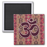 Símbolo de OM con el fondo indio del diseño Imán Cuadrado