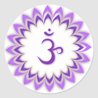 Símbolo de OM/corona Chakra Pegatina Redonda