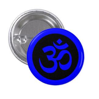 Símbolo de OM en insignia azul y negra Pin Redondo De 1 Pulgada